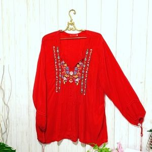Johnny Was Embroidered Floral Red Long Sleeve Top